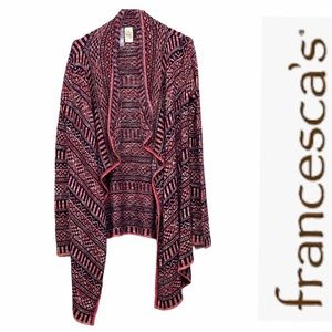 Alya Francescas tribal waterfall draped cardigan